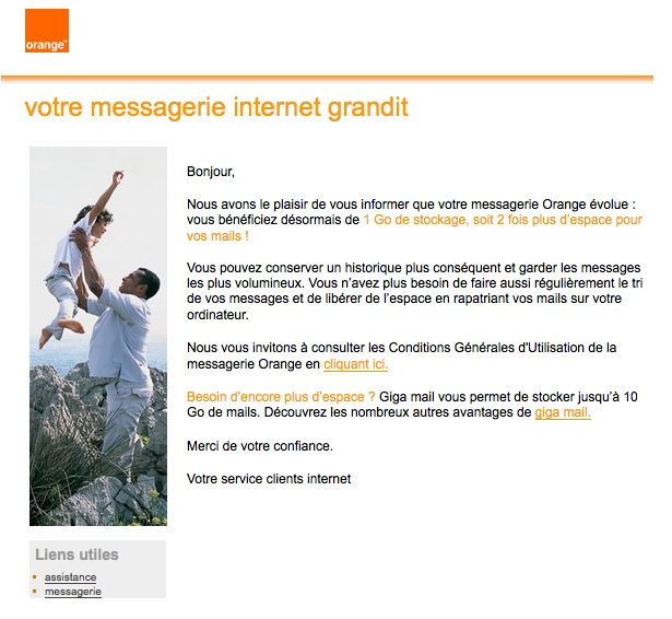 Univers Freebox - Orange : La messagerie passe à 1Go