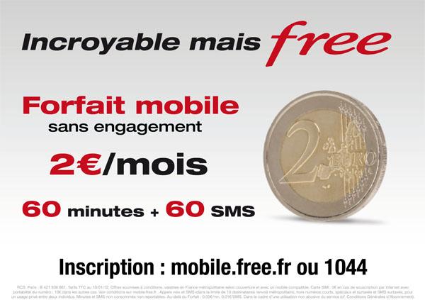 Freebox forfait mobile 2 euros