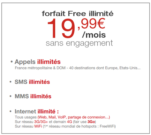 forfait free mobile illimit la 4g incluse et 10 go de fair use