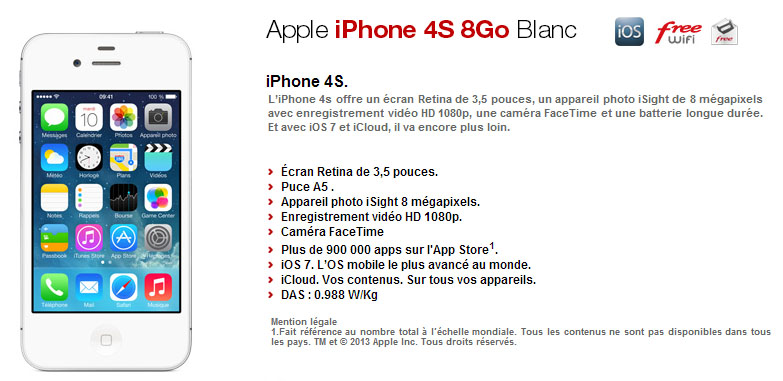 free mobile nouvelle version de l iphone 4s 8 go en. Black Bedroom Furniture Sets. Home Design Ideas