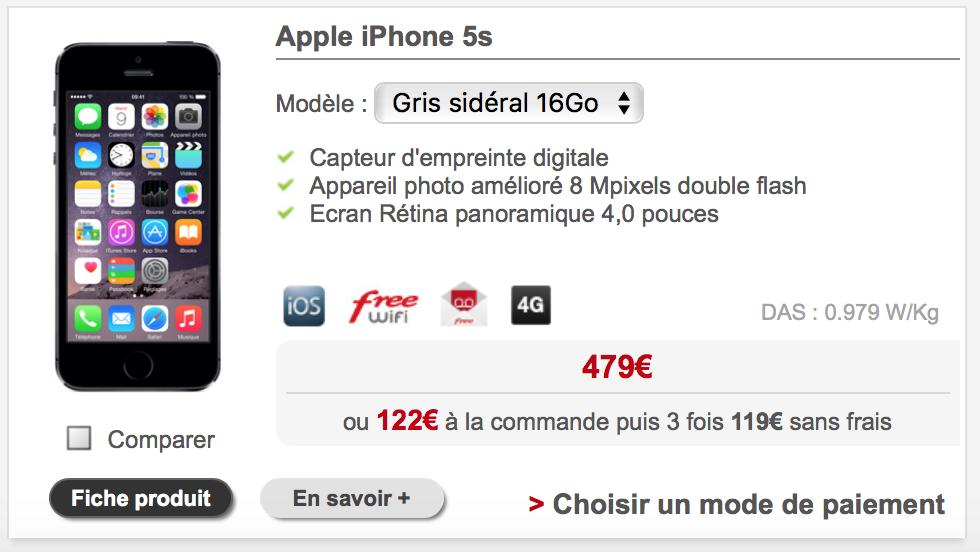 l iphone 5s et l iphone se au m me prix chez free mobile. Black Bedroom Furniture Sets. Home Design Ideas