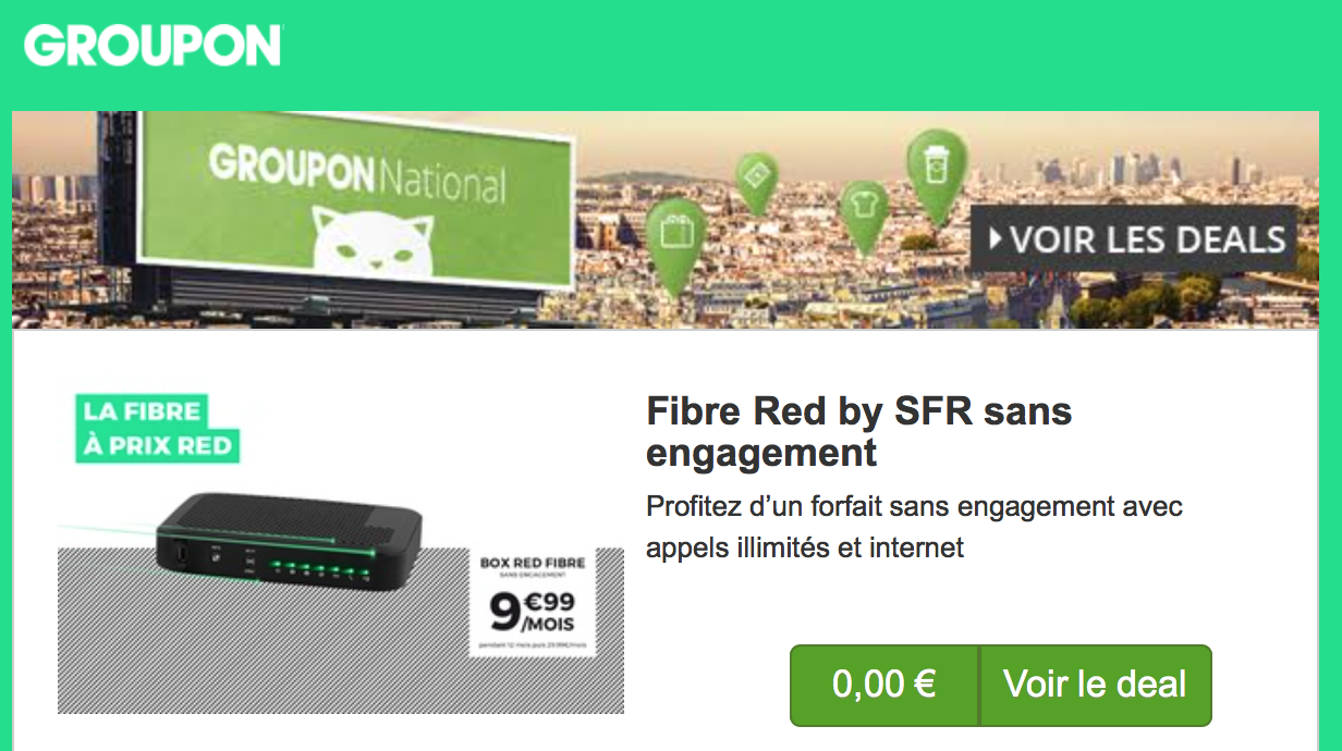 sfr brade son offre red fibre sur groupon. Black Bedroom Furniture Sets. Home Design Ideas