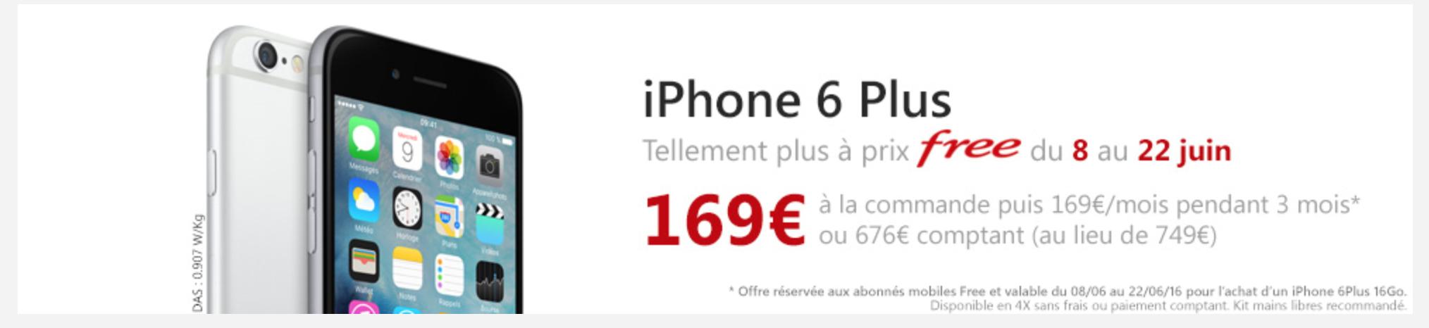 free mobile propose une offre exceptionnelle sur l iphone 6 plus. Black Bedroom Furniture Sets. Home Design Ideas