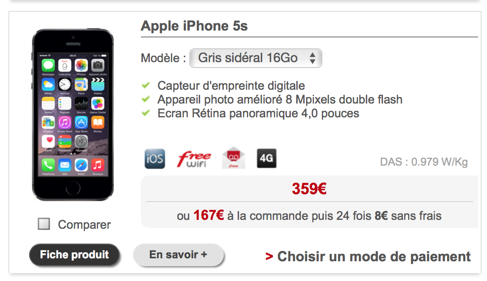 free mobile le tarif de l iphone 5s en baisse. Black Bedroom Furniture Sets. Home Design Ideas
