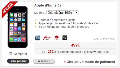 l iphone 5s est de retour dans la boutique free mobile. Black Bedroom Furniture Sets. Home Design Ideas