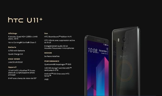 Le HTC U11 Plus en fuite