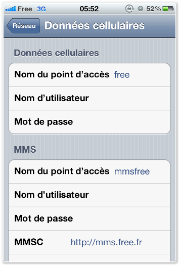 configurer mms free sur iphone 4