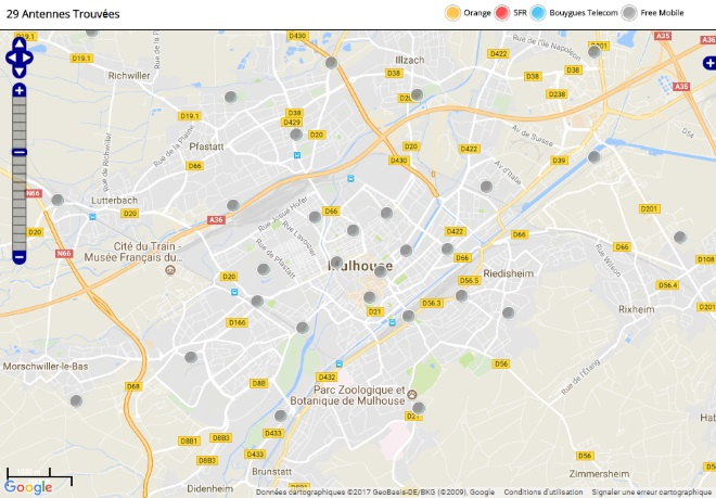 d couvrez la r partition des antennes mobiles free 3g 4g sur mulhouse. Black Bedroom Furniture Sets. Home Design Ideas