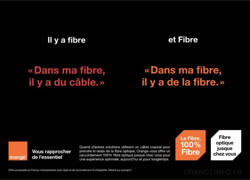 orange lance une campagne pour diff rencier la vraie fibre de la fausse fibre de num ric ble. Black Bedroom Furniture Sets. Home Design Ideas