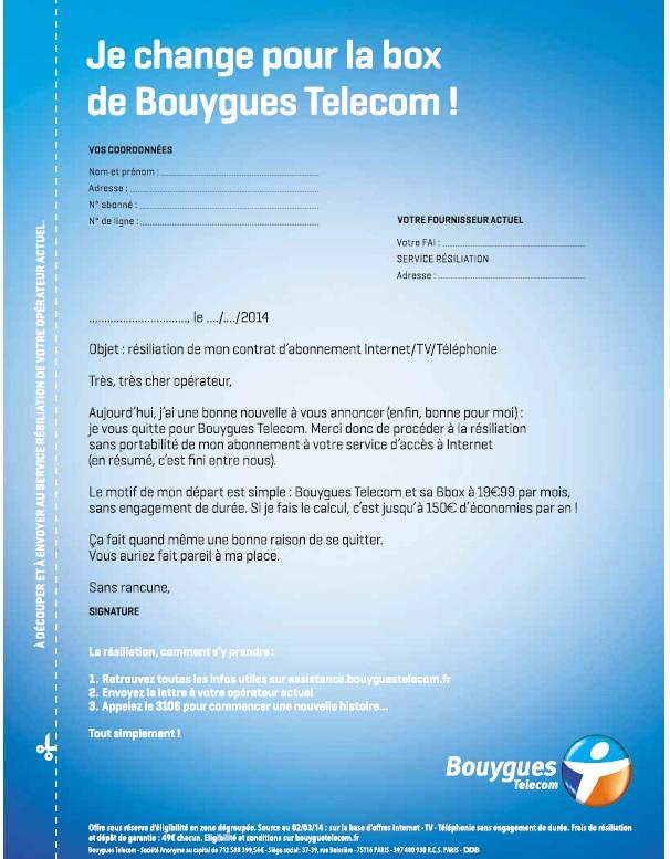 bouygues lance une campagne presse pour sa box  u00e0 19 99 u20ac  avec une lettre de r u00e9siliation pour les
