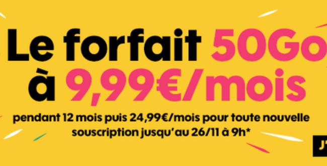 Le forfait 50 Go à 9,99€/mois pendant un an — Promo Sosh