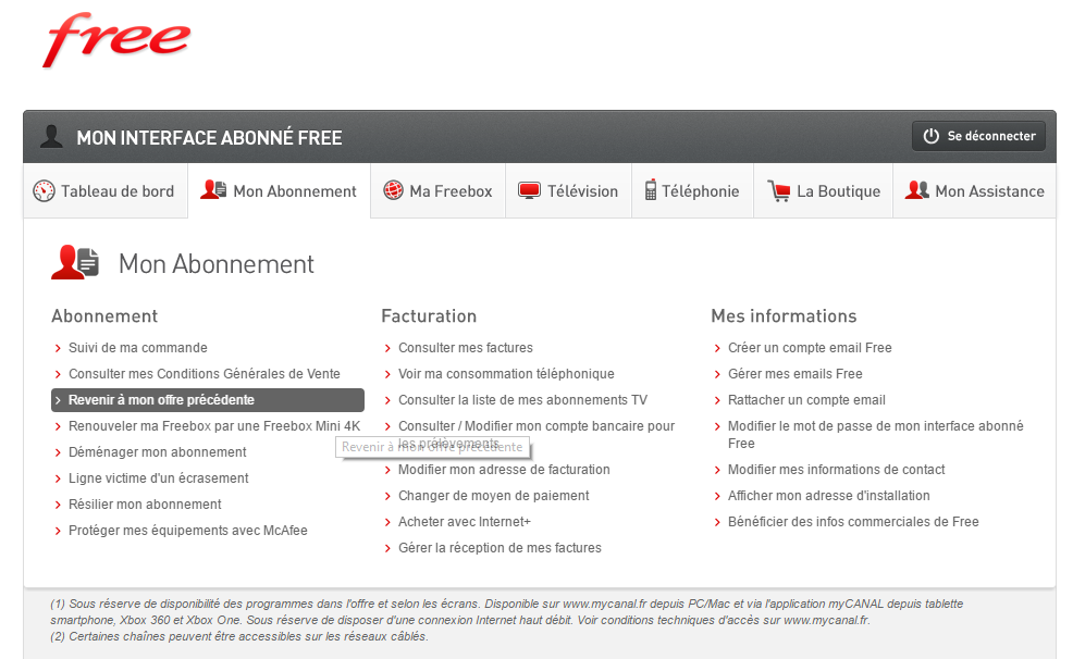 Freebox Révolution : L´option pour refuser TV by Canal