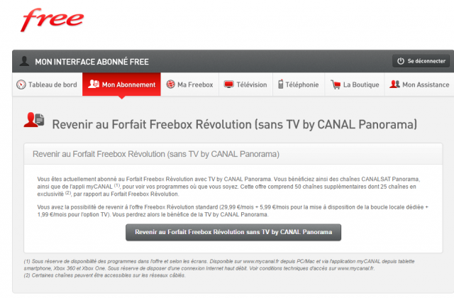freebox r volution l option pour refuser tv by canal. Black Bedroom Furniture Sets. Home Design Ideas