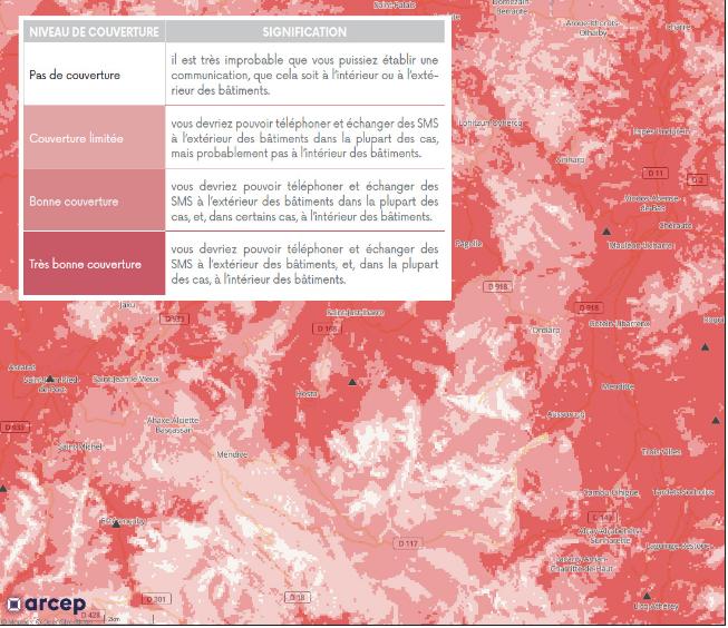 La carte de l'ARCEP qui dévoile la vraie couverture réseau des opérateurs