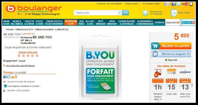 La Carte Boulanger B.Bouygues Telecom Propose Des Kits D Acces B You A 5 Euros
