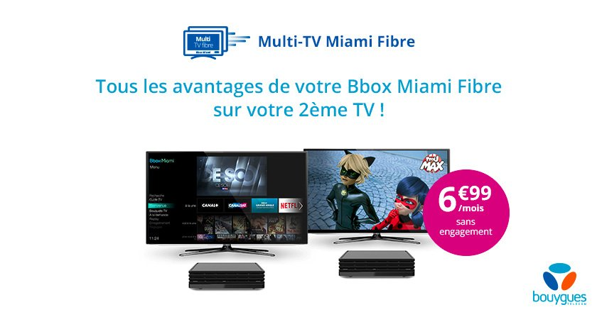 bouygues t l com lance le multi tv pour la bbox miami avec la fibre mais pas avec l adsl. Black Bedroom Furniture Sets. Home Design Ideas