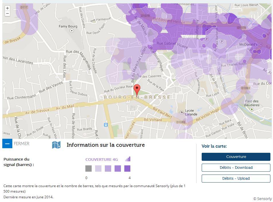 Couverture et d bit 4g free mobile focus sur bourg en bresse for 4g haute savoie