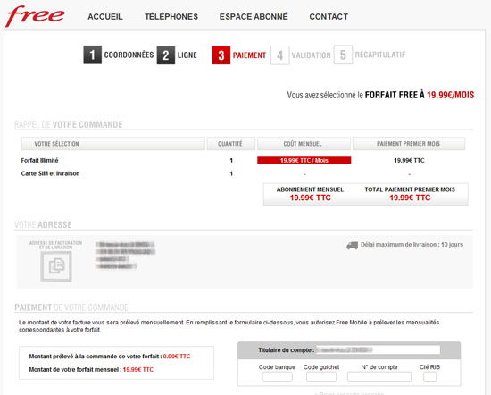 delai livraison carte sim free Free modifie l'interface d'inscription mobile et annonce un délai