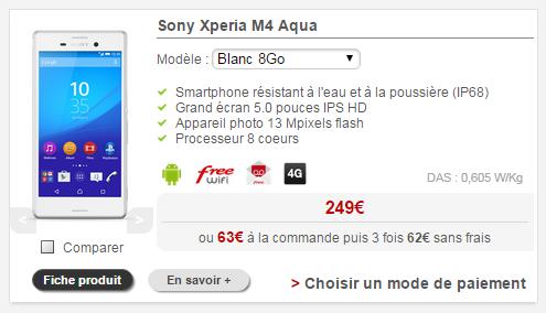 le prix du sony xperia m4 aqua en baisse sur la boutique free mobile. Black Bedroom Furniture Sets. Home Design Ideas
