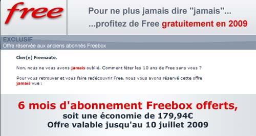 free offre 6 mois d abonnement aux freenautes qui l ont quitt. Black Bedroom Furniture Sets. Home Design Ideas