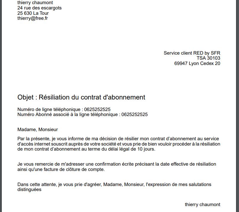 lettre de r?siliation free mobile modele