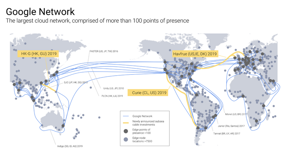 Google va étendre ses infrastructures d'ici 2019