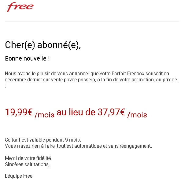 free propose galement une offre sp ciale pour les abonn s freebox via vente priv e les. Black Bedroom Furniture Sets. Home Design Ideas
