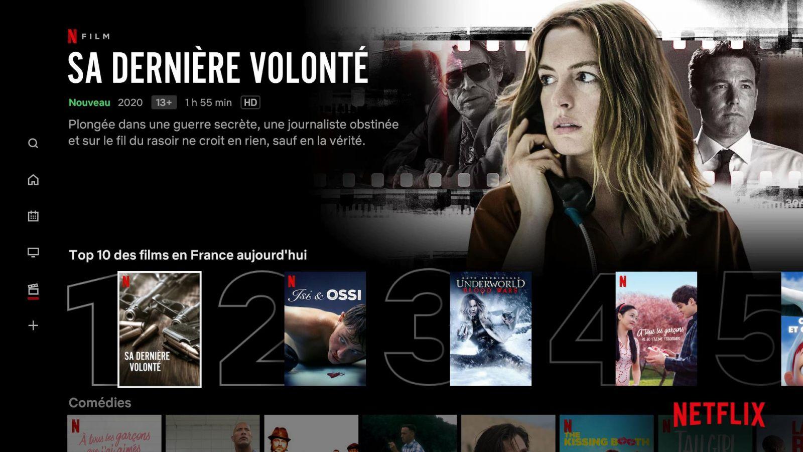 Netflix affiche désormais le classement des films et séries les plus populaires