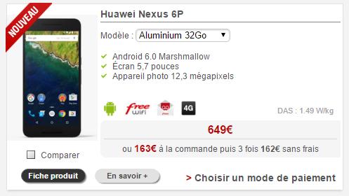 boutique free mobile le nexus 6p est d sormais disponible l achat. Black Bedroom Furniture Sets. Home Design Ideas