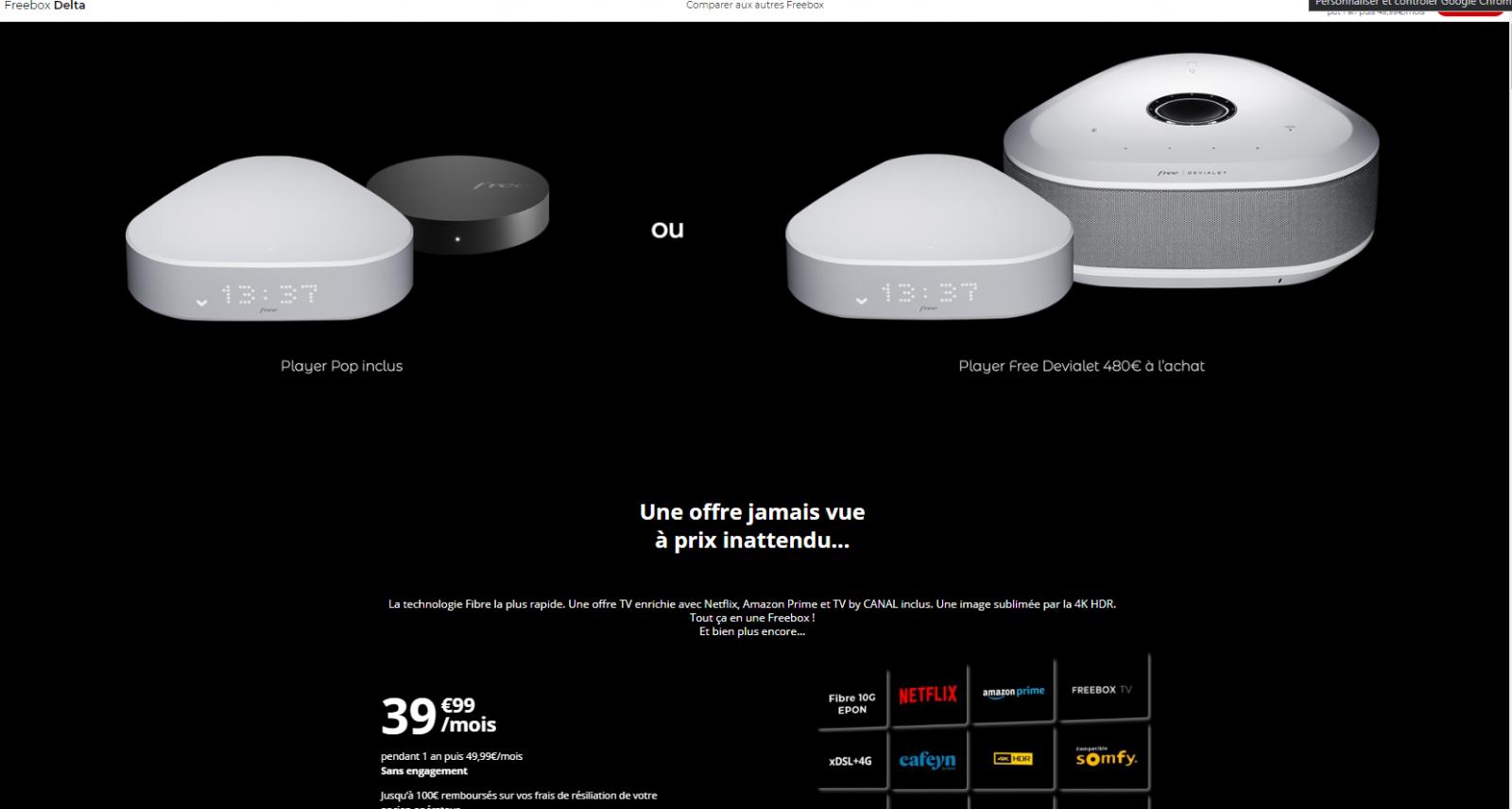 Nouveau Modele Commercial Pour La Freebox Delta Qui Beneficie D Un Tarif Preferentiel La Premiere Annee