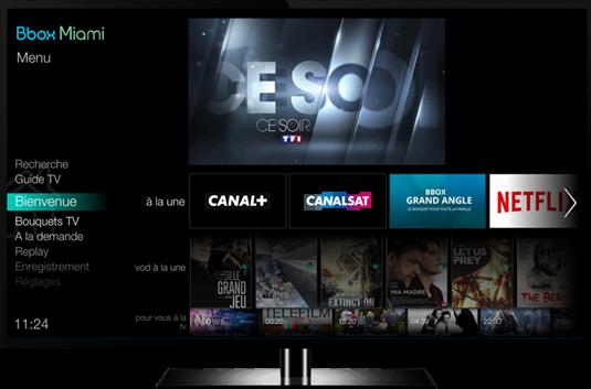 d couvrez la nouvelle interface tv de la bbox miami que bouygues t l com va lancer en beta test. Black Bedroom Furniture Sets. Home Design Ideas