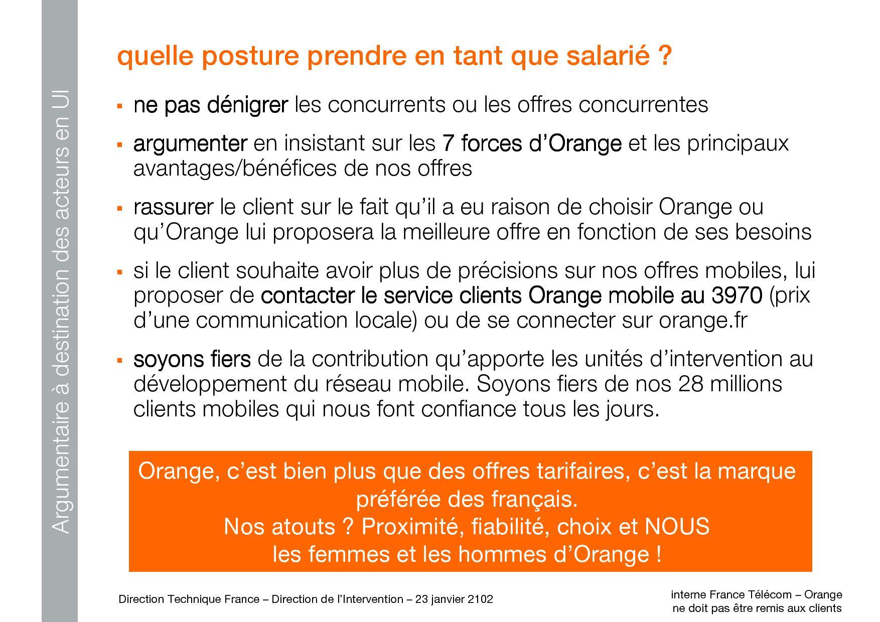orange propose un argumentaire ses salari s pour limiter l effet free mobile. Black Bedroom Furniture Sets. Home Design Ideas