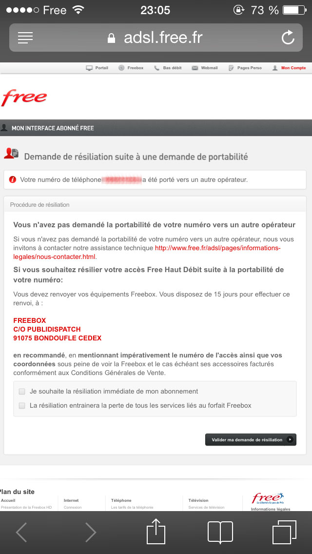 article  Demande de portabilite numero Freebox Free met en place une procedure validation