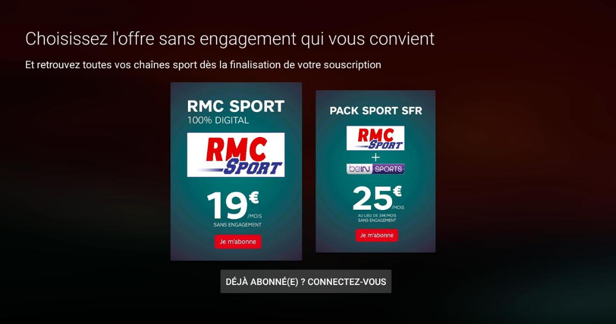 a quand rmc sport sur free