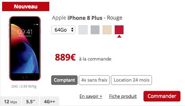 l iphone 8 rouge d barque dans la boutique free mobile nouveaut s free mobile. Black Bedroom Furniture Sets. Home Design Ideas
