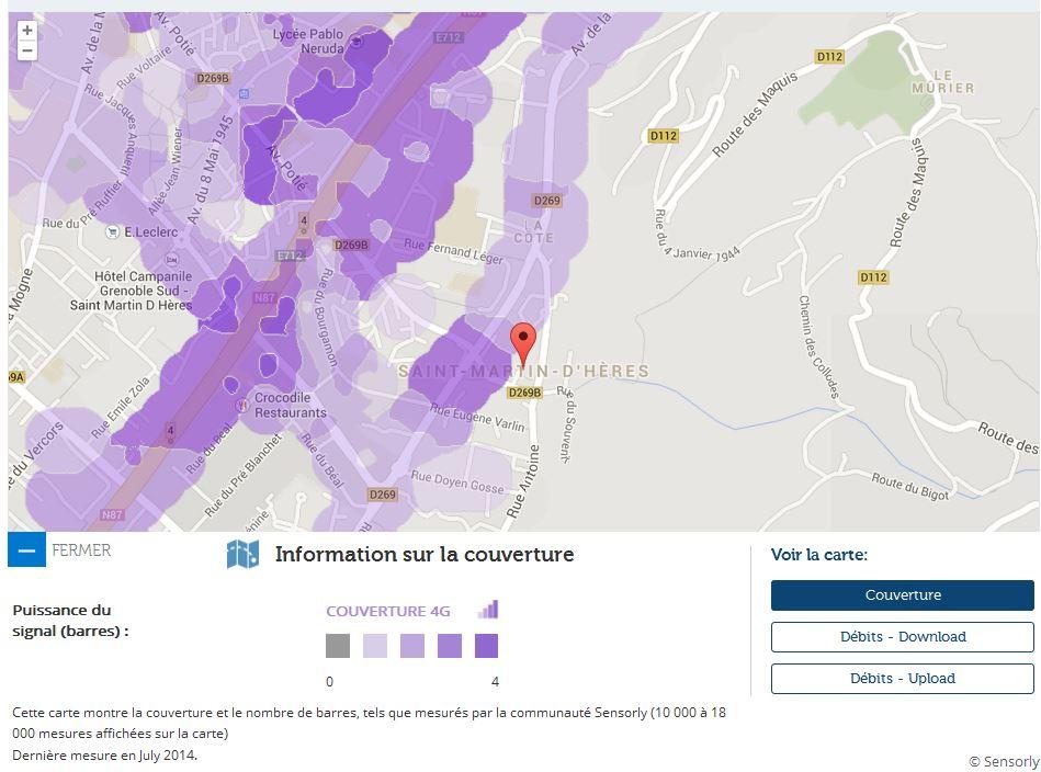 Couverture et d bit 4g free mobile focus sur saint for 4g haute savoie