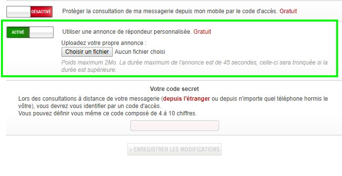 comment personnaliser sa messagerie vocale free