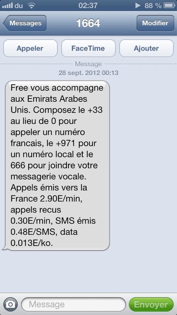 Top Free Mobile envoie désormais un SMS de bienvenue à l'étranger  XL73