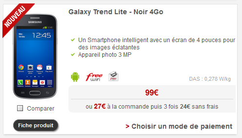 Le samsung galaxy trend lite d barque dans la boutique en ligne de free mobile - Telephone portable samsung galaxy trend lite ...