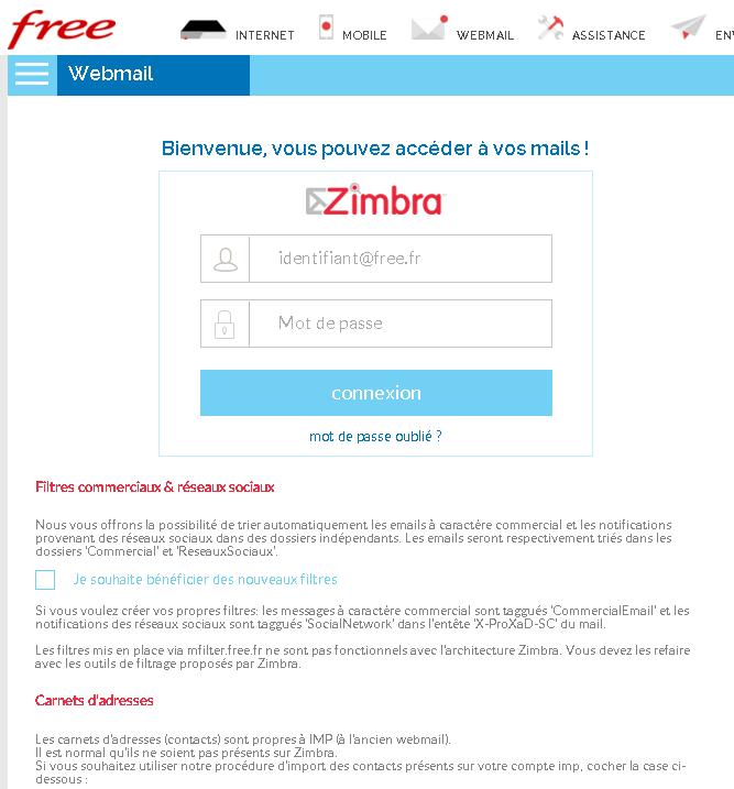 Free : La page d´authentification de Zimbra fait peau neuve