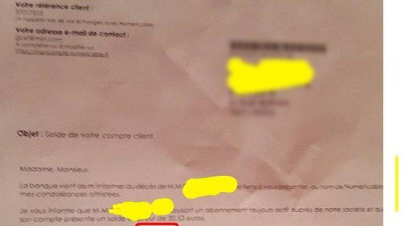 Numericable réclame 20 euros au fils d'un abonné décédé…