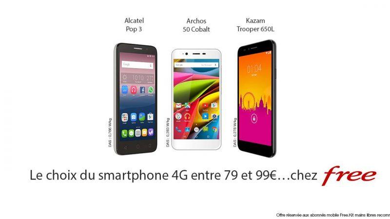 Free Mobile met en avant 3 smartphones 4G à moins de 100€