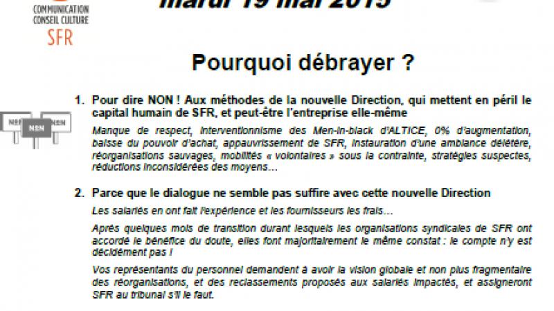 Un débrayage national chez SFR-Numericable pour dire « Non aux méthodes de la direction »