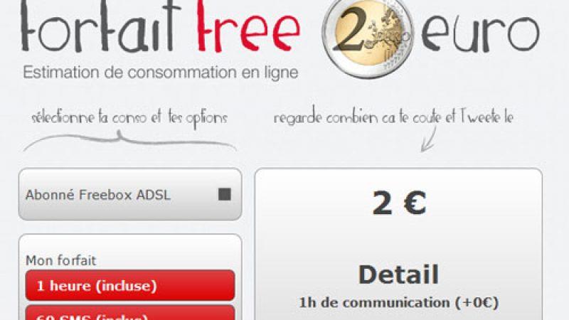 Une application pour calculer le coût du forfait Free Mobile « 2 euros » en fonction du nombre d'heures et de SMS