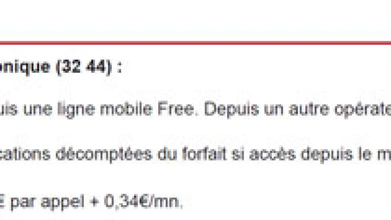 le 3244 est il gratuit depuis free mobile