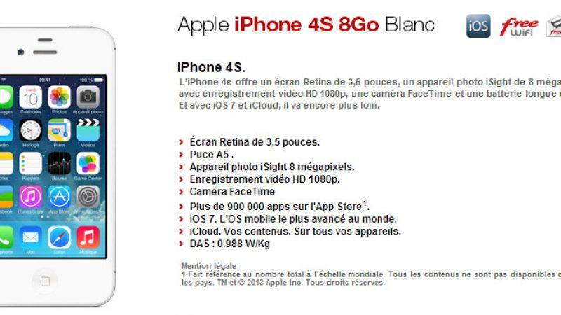 Free Mobile : nouvelle version de l'iPhone 4S (8 Go) en précommande