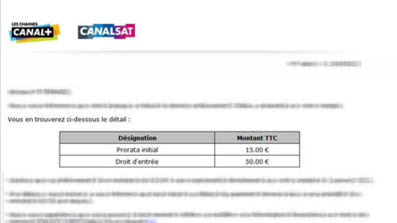 Canal+/Canalsat : Attention à la facturation des frais d'accès de 50 euros