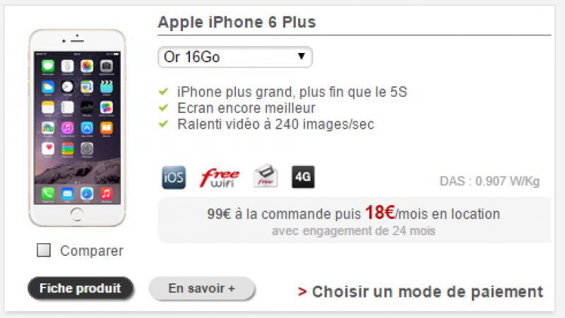 """L'iPhone """"6 Plus"""" disponible à la location chez  Free Mobile pour 18€/mois"""