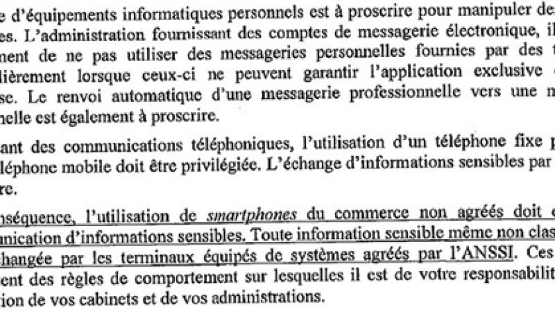 Les ministres privés de Smartphones