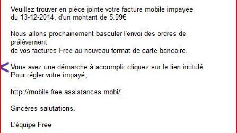 Attention aux mails frauduleux au nom de Free Mobile